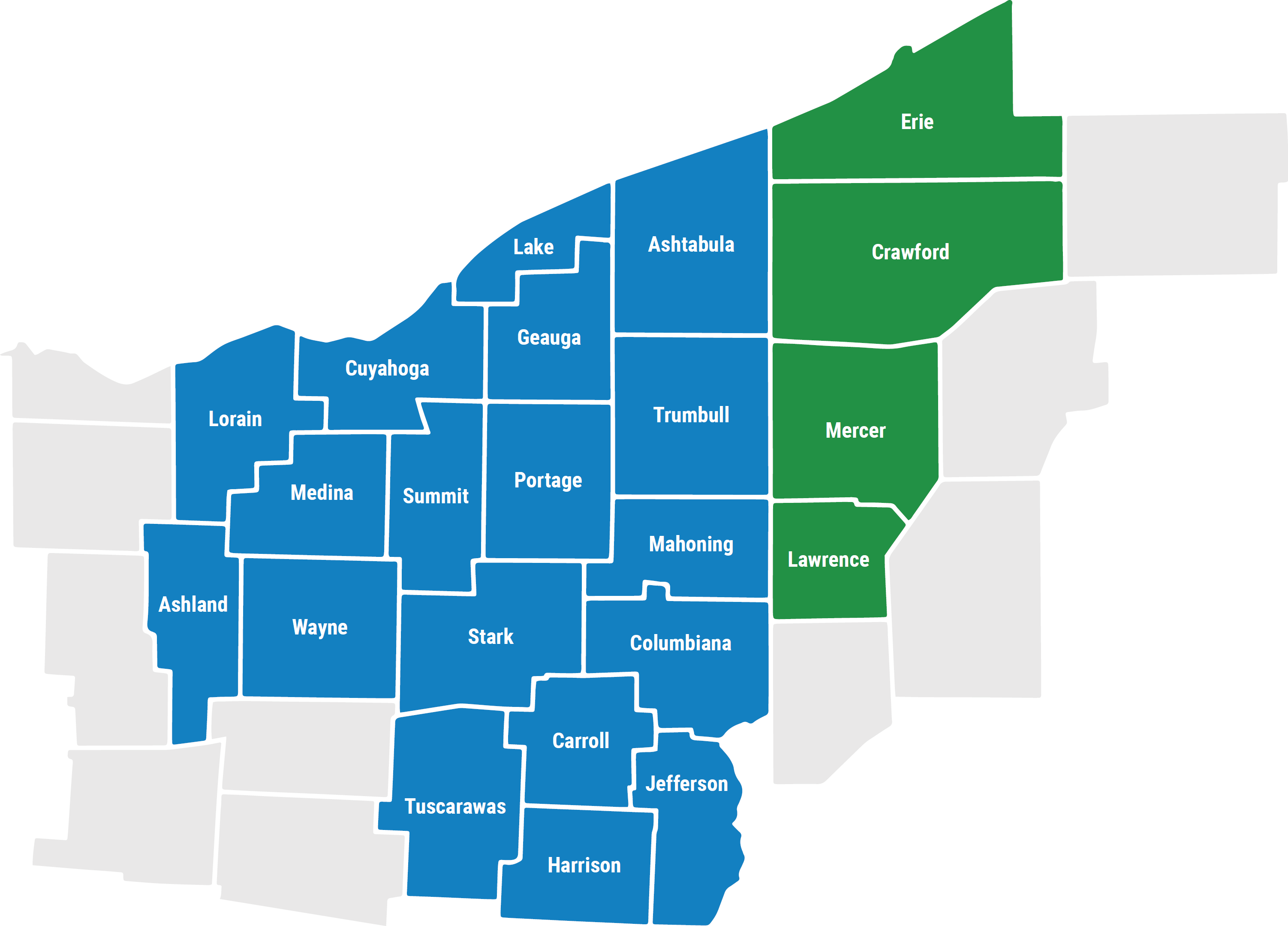 Service area includes Northeast Ohio, Lorain, Ashland, Cuyahoga, Medina, Wayne, Summit, Lake, Geauga, Portage, Stark, Tuscarawas, Ashtabula, Trumbull, Mahoning, Columbiana, Carroll, Harrison, Jefferson Counties and Western Pennsylvania, Erie, Crawford, Mercer, Lawrence Counties